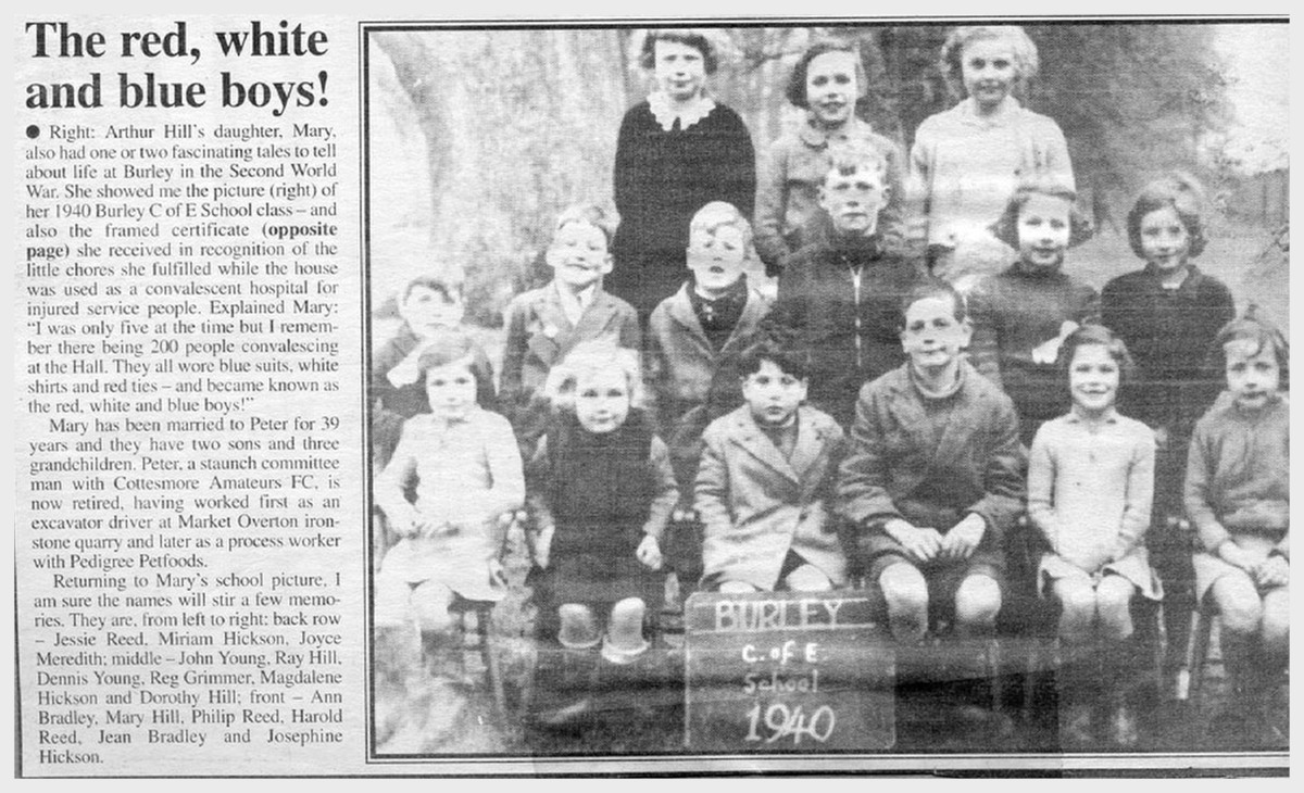 cottesmore village school red white blue boys 1940